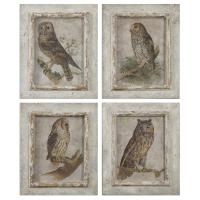 Set of 4 Country Rustic Owl Distressed Framed Art Prints ...