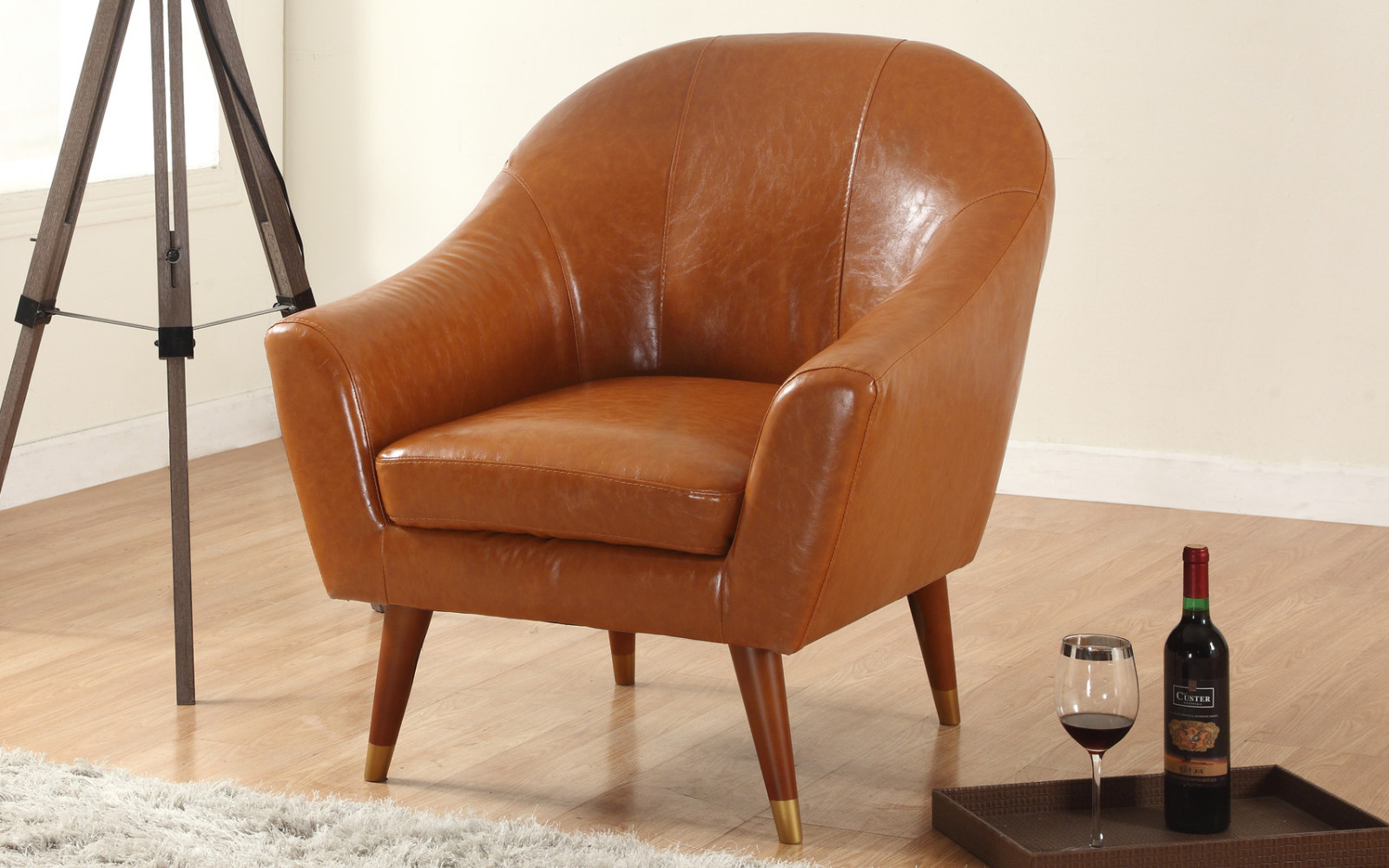 Modern Leather Chairs Mid Century Modern Bonded Leather Living Room Accent Chair