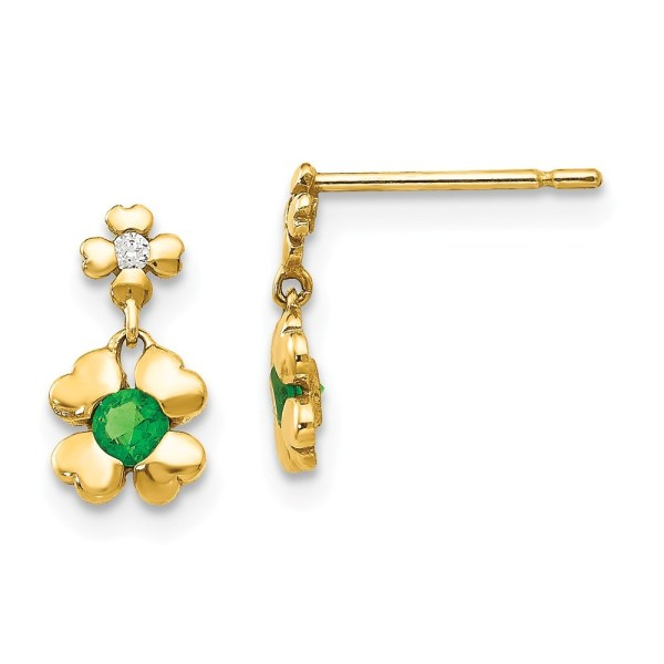 14k Yellow Gold Madi Cubic Zirconia Childrens 4-leaf Clover Dangle Post Earrings