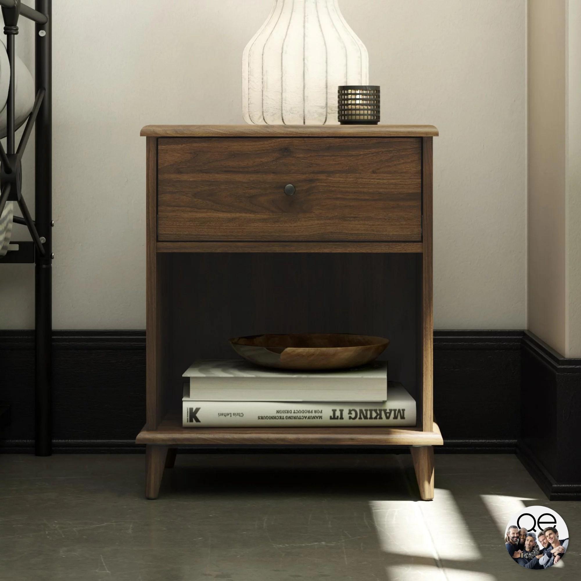 queer eye farnsworth 1 drawer mid century modern nightstand walnut