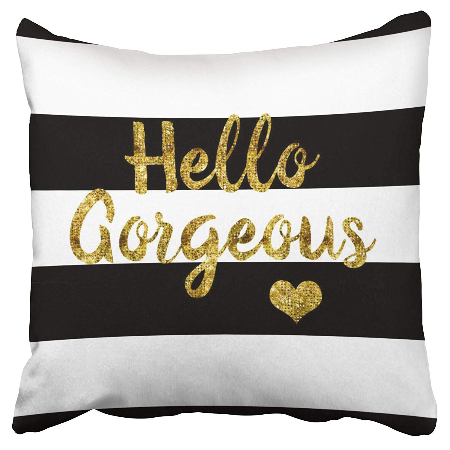 eccot hello gorgeous love black and white striped pillow case pillow cover 20x20 inch walmart com