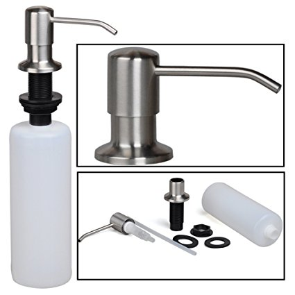 kitchen sink capacity wine decorations for stainless steel built in pump dish soap dispenser large 17 oz bottle