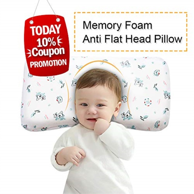 mkicesky baby pillow memory foam infant head shaping sleeping pillow newborn round pillow prevent flat head syndrome for 0 3t baby girl boy with
