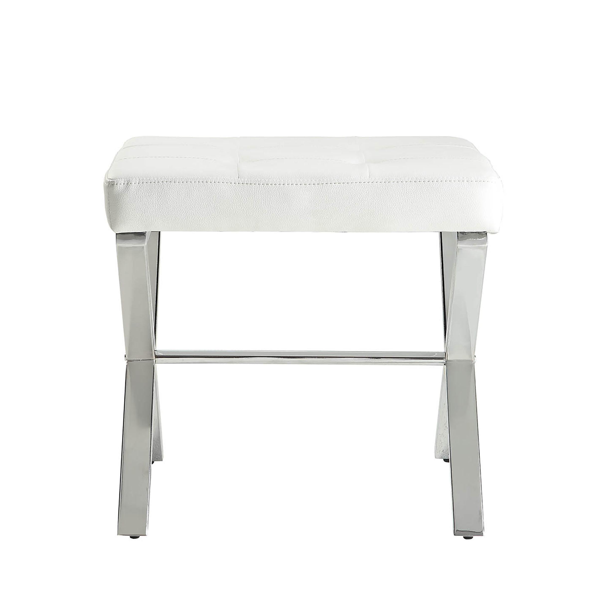 Tufted Vanity Chair Carolina Chair And Table Verona White Tufted P U Seat Vanity Bench With Chrome X Leg Base