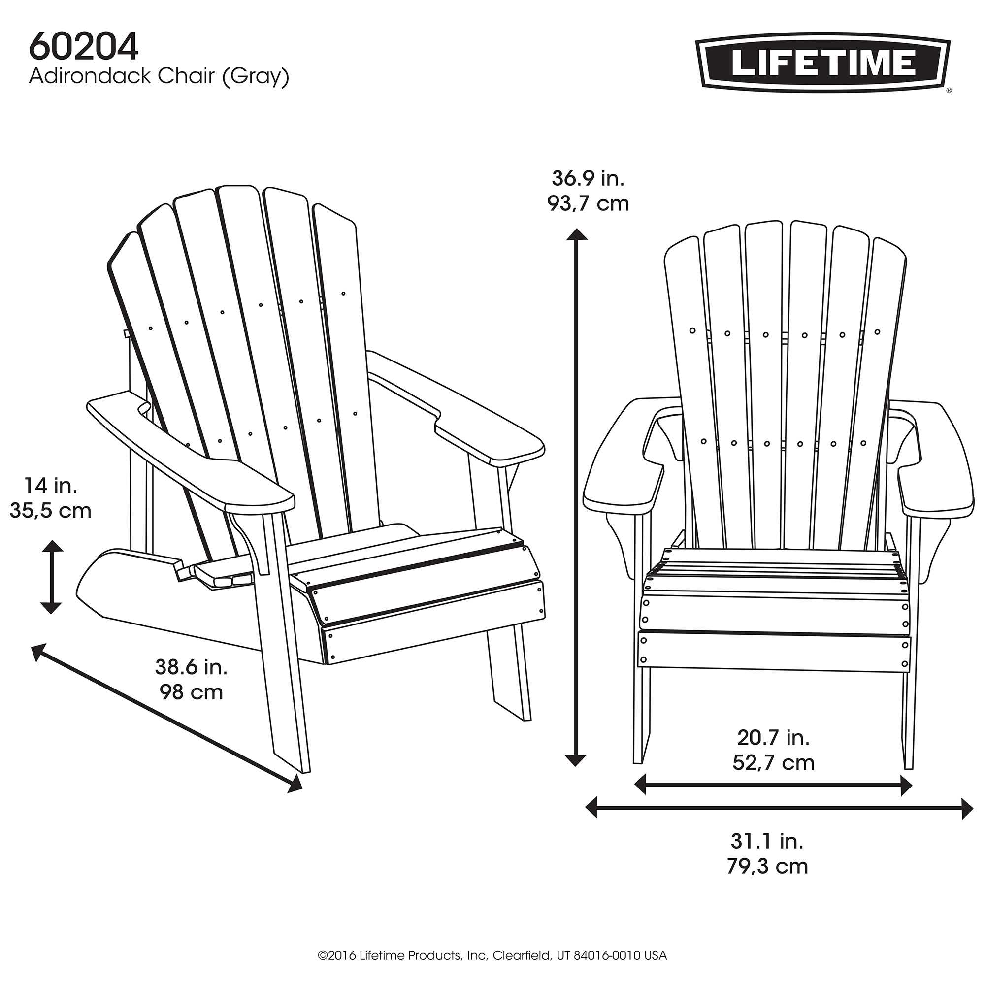 Lifetime Adirondack Chair Lifetime Adirondack Wood Alternative Chair Gray 60204