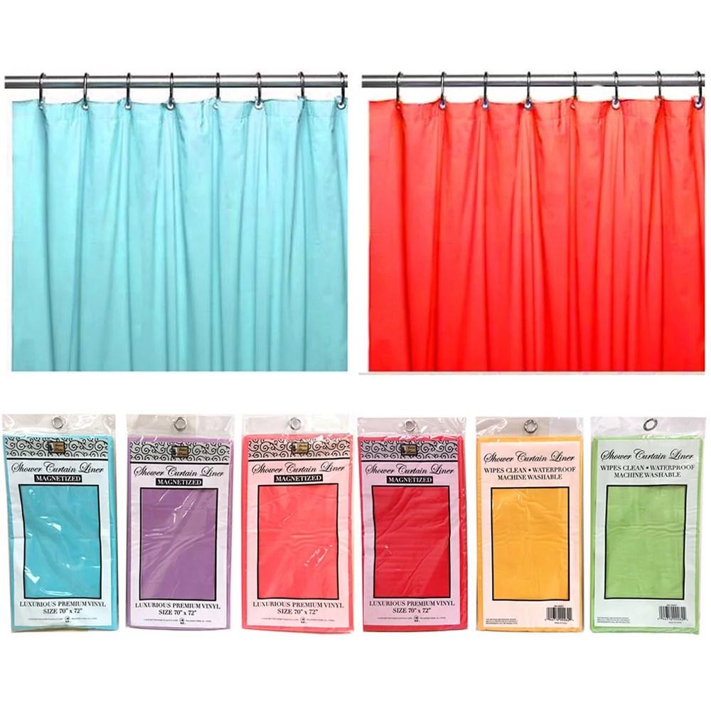 2 magnetic shower curtain liner water resistant 100 vinyl premium colors 70x72