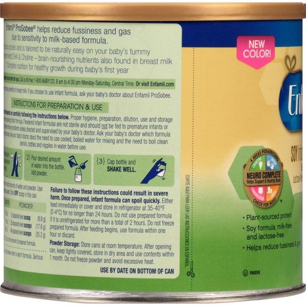 Enfamil Baby Formula Nutrition Label