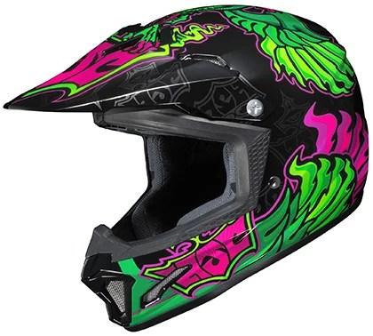 hjc cl xy ii eye fly helmet purple green lg 288 944