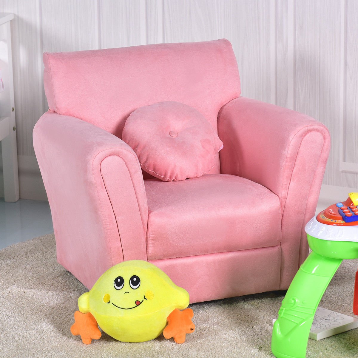 children living room furniture l shaped ideas india gymax kids sofa armrest chair couch birthday gift w pillow pink