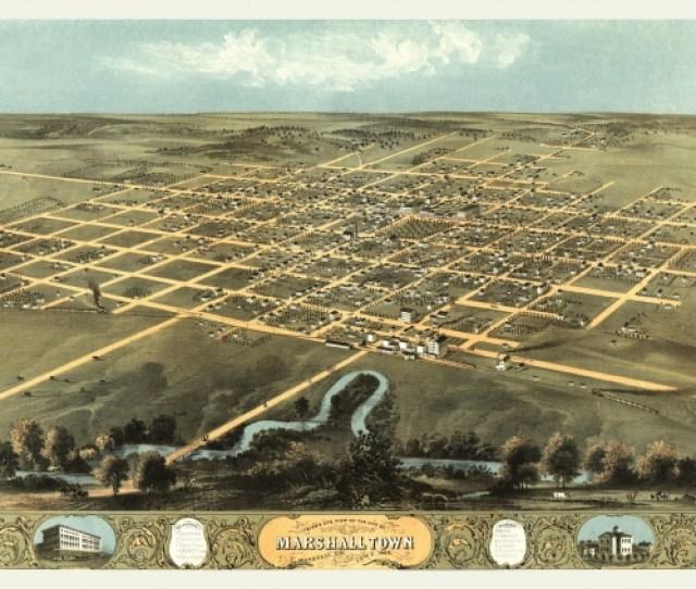 Antique Map Of Marshalltown Iowa  Marshall County Poster Print