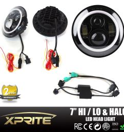 xprite 7 inch round 80w hi lo beam cree led headlights with halo ring [ 1600 x 1600 Pixel ]