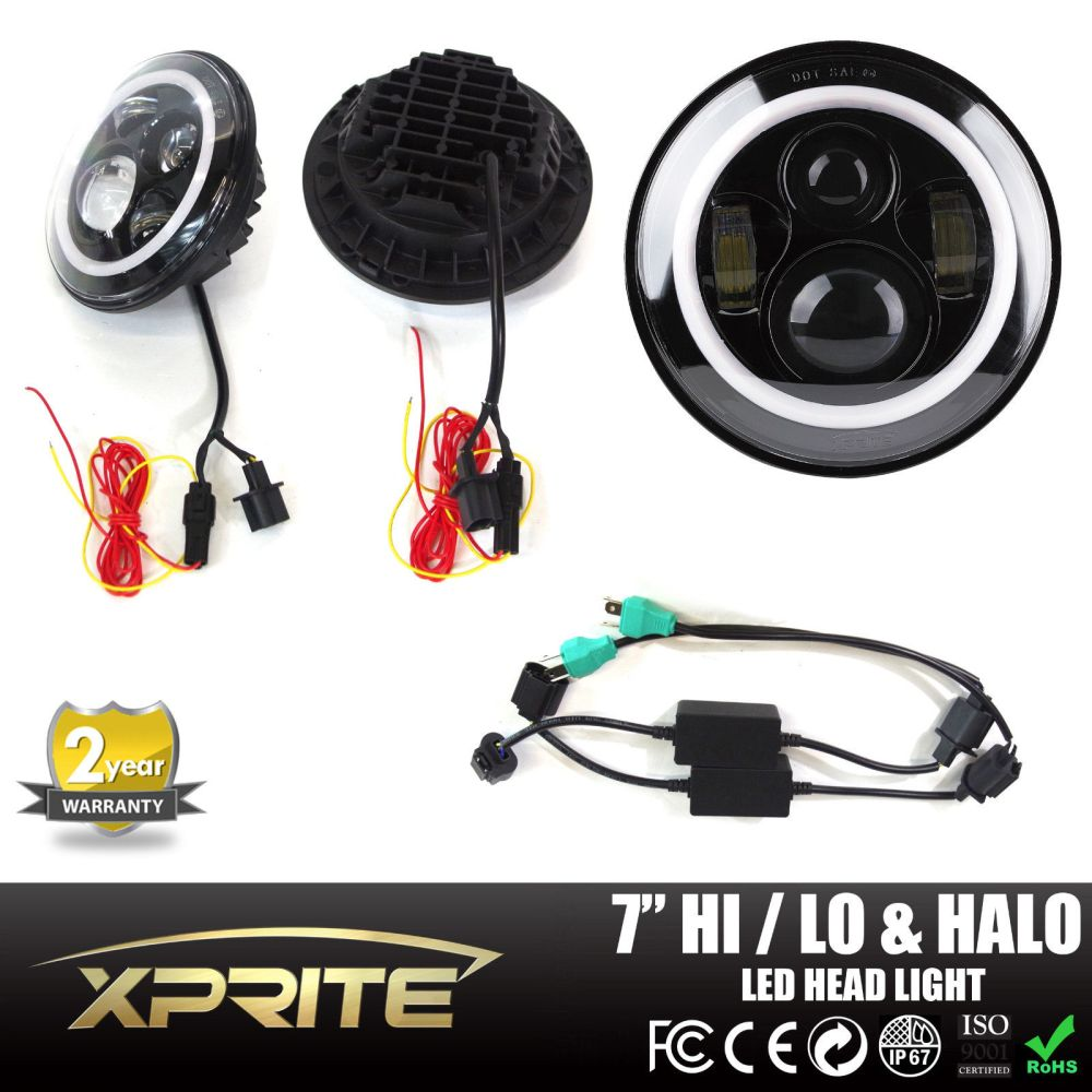 medium resolution of xprite 7 inch round 80w hi lo beam cree led headlights with halo ring
