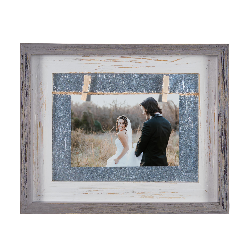 Danya B. Grey and White 4″ x 6″ Horizontal Wood Picture Frame