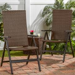 Wicker Reclining Patio Chair Metal And Leather Dining Hand Woven Pe Outdoor Chairs Set Of 2 Walmart Com