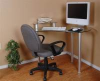 Clear Glass Corner Computer Desk with Monitor Stand ...