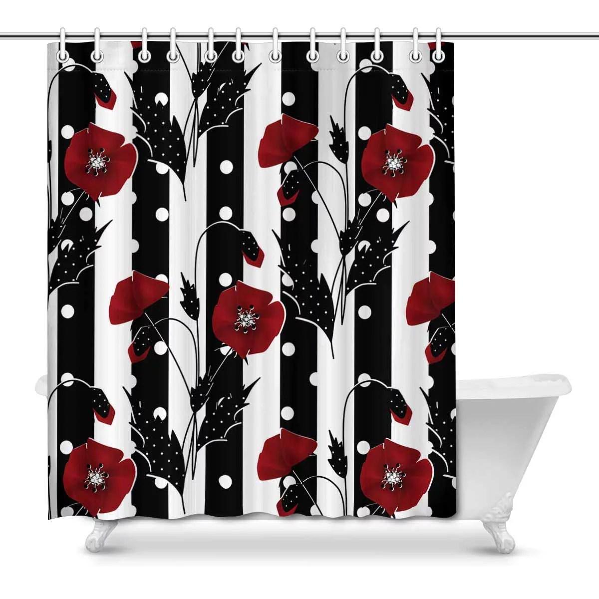 mkhert red poppies on black white stripes house decor shower curtain for bathroom decorative fabric bath curtain set 66x72 inch