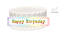 Rainbow Paw Print Happy Birthday Edible Cake Side Photo