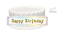 Rainbow Paw Print Happy Birthday Edible Cake Side Photo ...