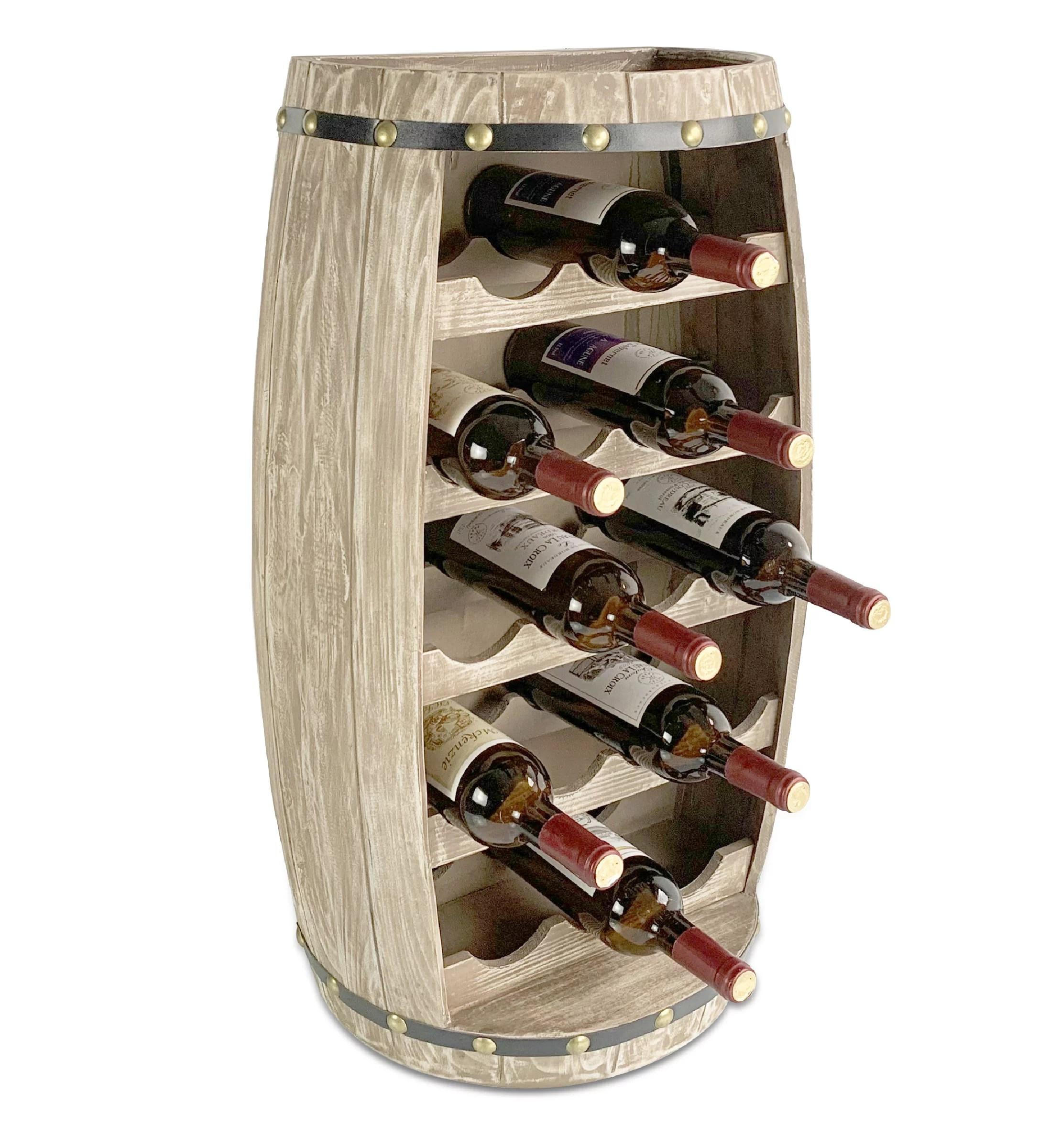 cota global modern alexander wall mounted wine rack 18 wine bottles freestanding wooden barrel wine holder hanging bottle rack or floor stand wine