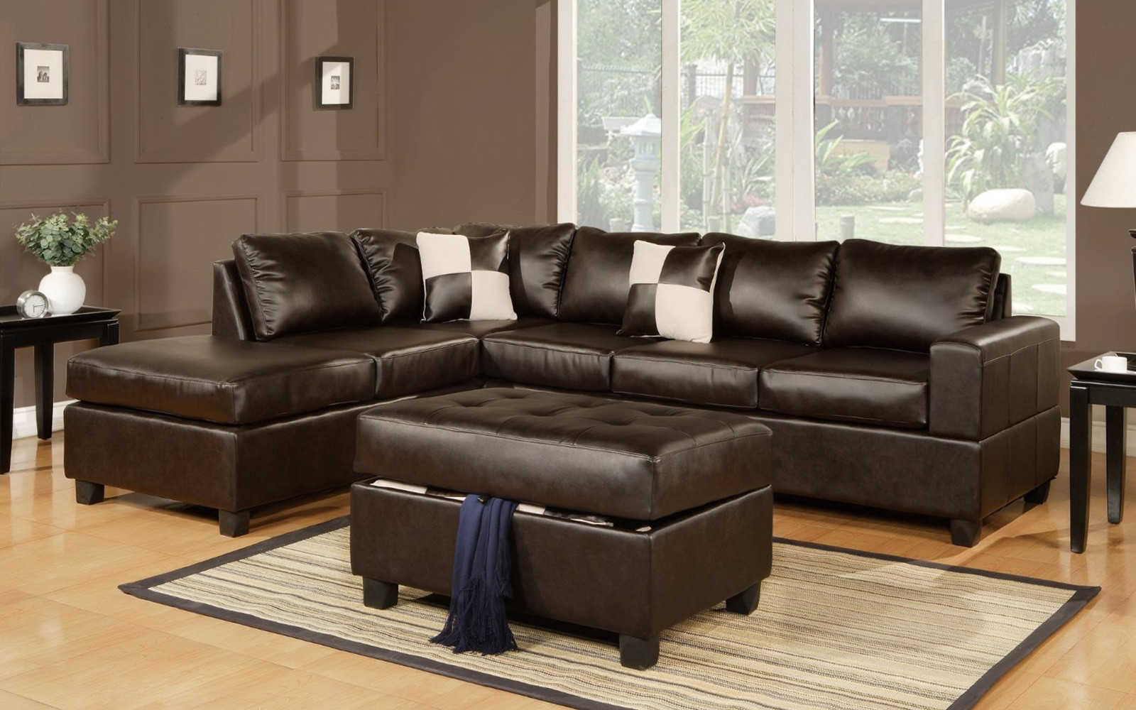 modern bonded leather sectional sofa with recliners old set in pune on olx 3 piece reversible tufted ottoman walmart com