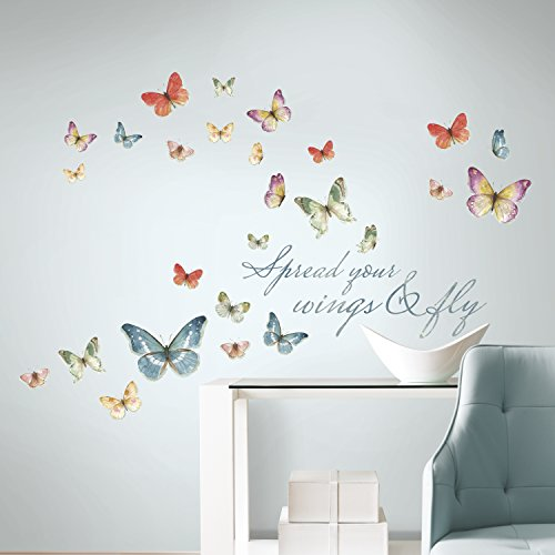Roommates Lisa Audit Butterfly Quote Peel and Stick Wall