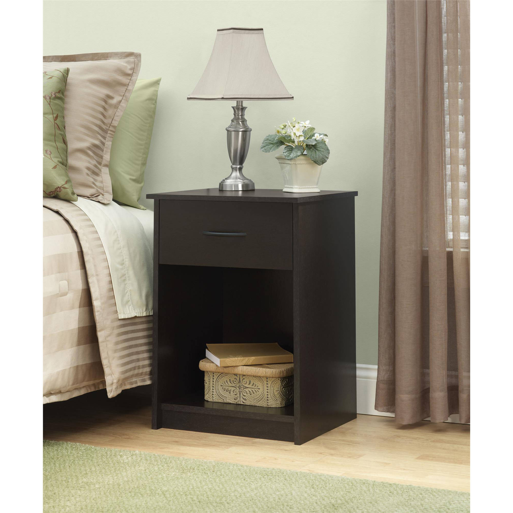 Nightstand Night Stand End Table 1 Drawer Furniture Bedroom Bedside Wood Brown  eBay