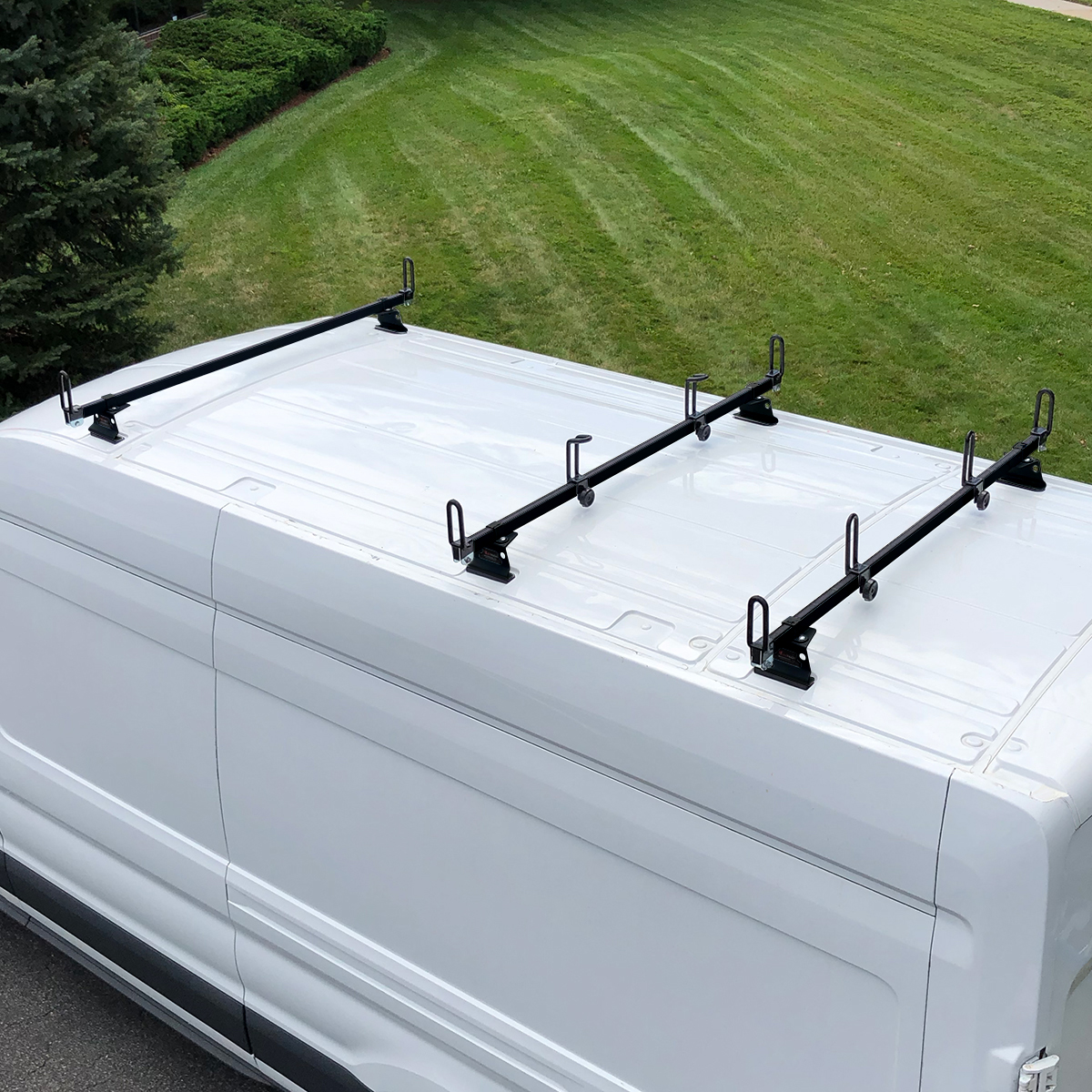 vantech heavy duty 3 bar ladder roof rack fits ford transit cargo van high roof