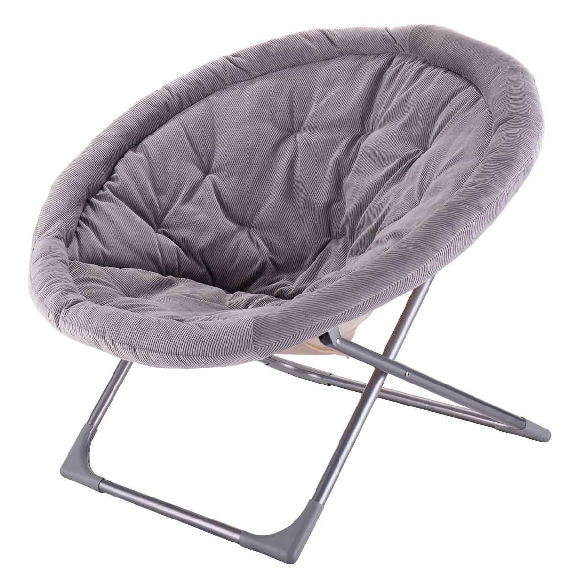 folding chair for living room walmart wooden chairs newoversized large saucer moon corduroy round seat departments