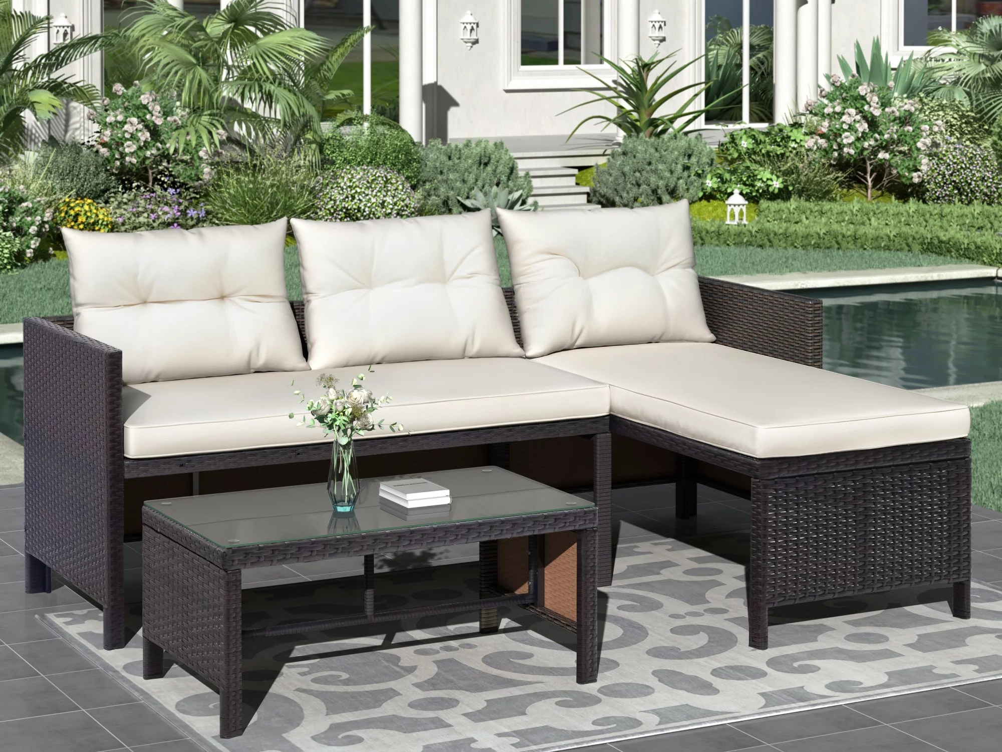 clearance 3 pieces patio furniture sectional set outdoor furniture set with two seater sofa lounge sofa table cushion pe rattan wicker bistro