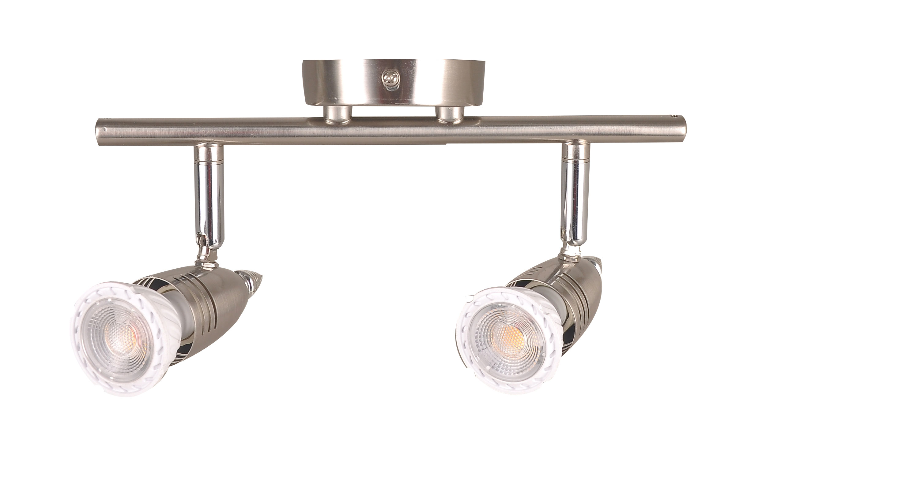 kimyan two light track lighting kit plug in brushed nickel with on off switch with mr16gu10 led bulbs warm white cri90