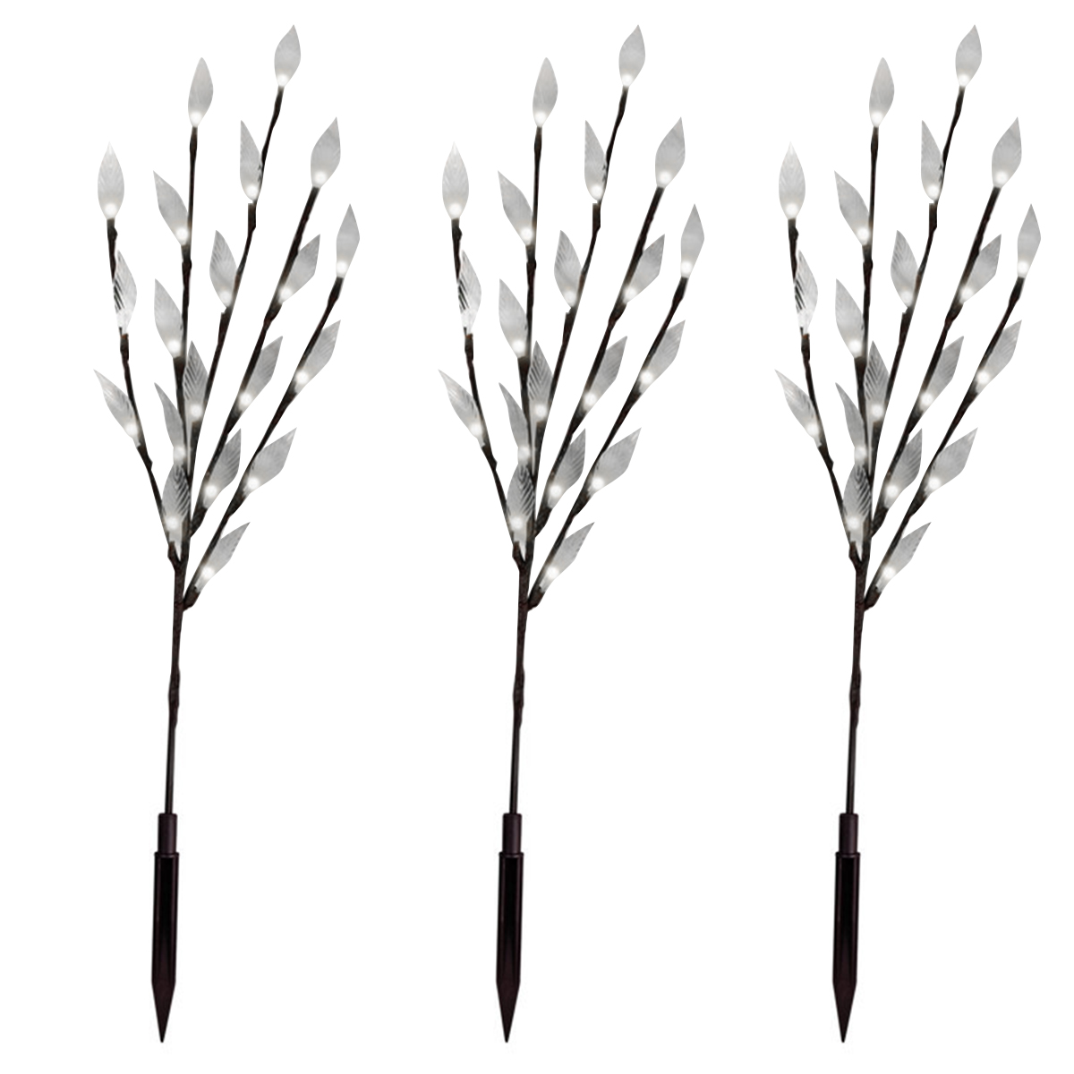 3 Packs Of 60 Led Solar Branches Lights Decorative Tree