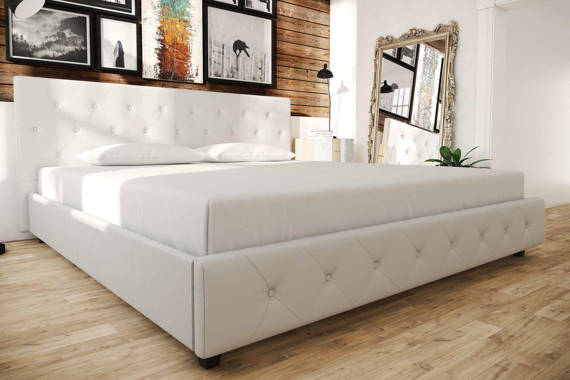 Contemporary White Leather King Size Bed Frame W Tufted