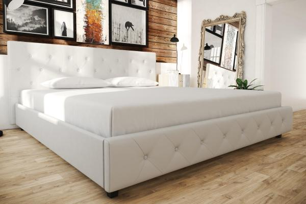 Contemporary White Leather King Size Bed Frame With Tufted