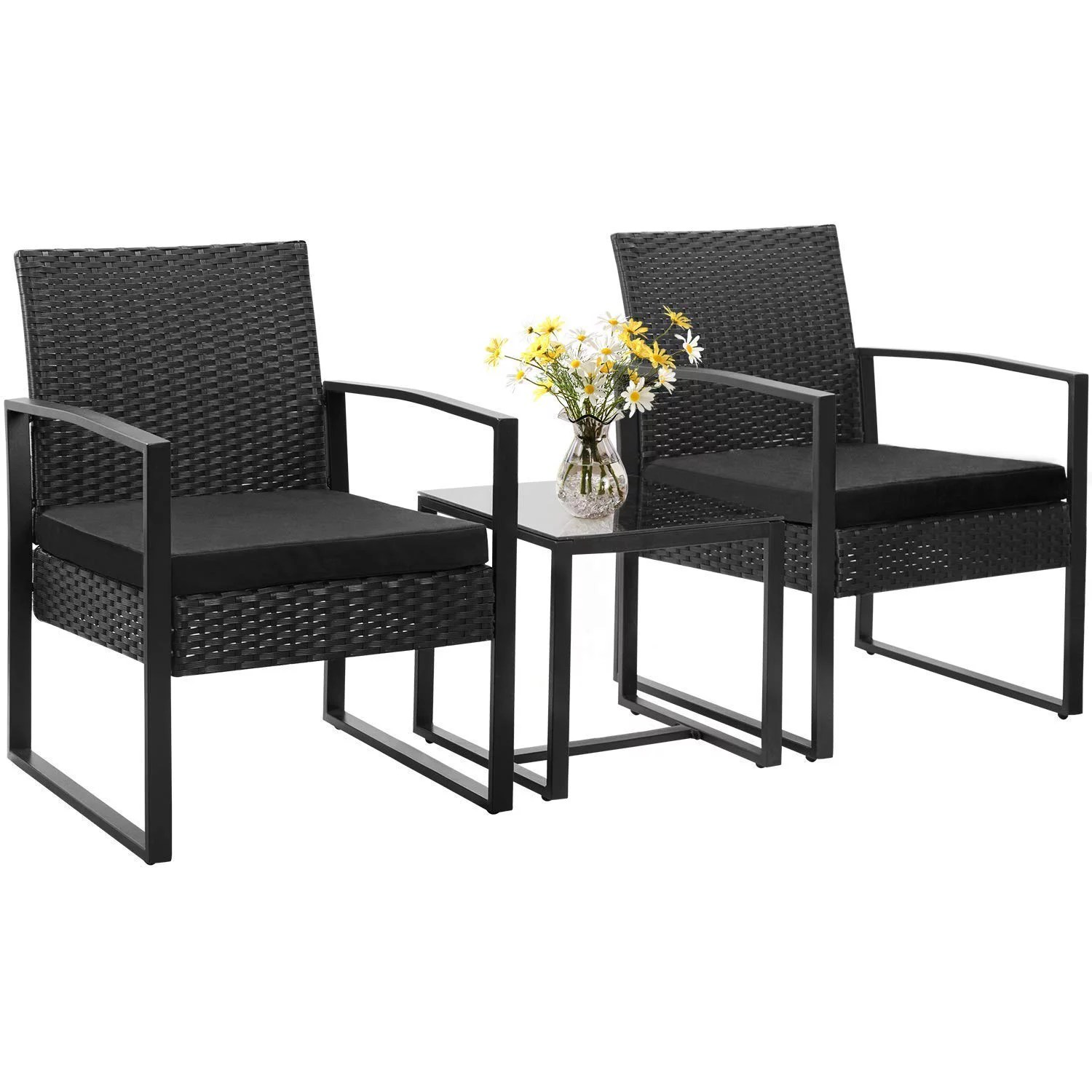 walnew patio furniture cushioned pe rattan bistro chairs set of 2 with table 3 piece walmart com