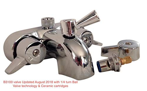 heavy duty b3100 3 3 8 centers clawfoot tub faucet with ceramic cartridges new 1 4 turn ball valve diverter by my plumbingstuff