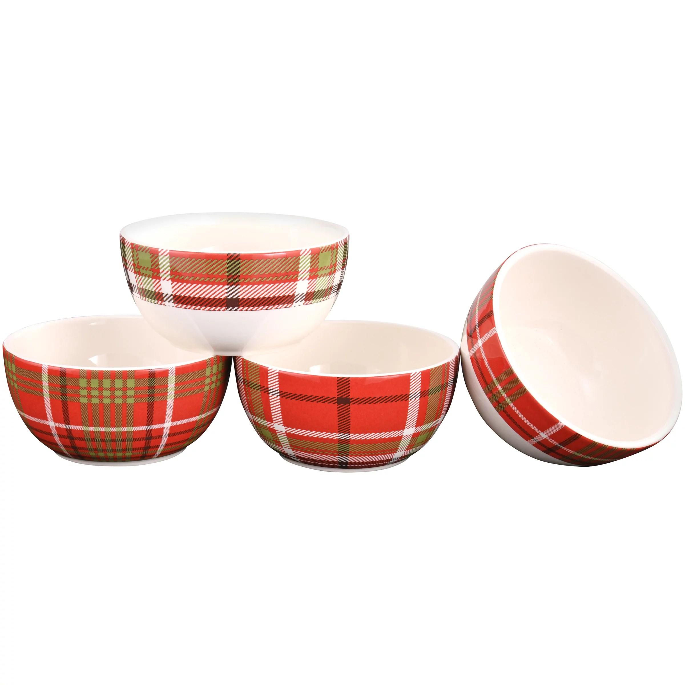 mainstays plaid microwave dishwasher safe ceramic bowl set 4 count