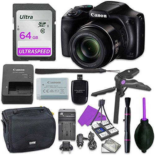 Canon Powershot SX540 Point & Shoot Digital Camera Bundle w/ Tripod Hand Grip , 64GB SD Memory , Case and More