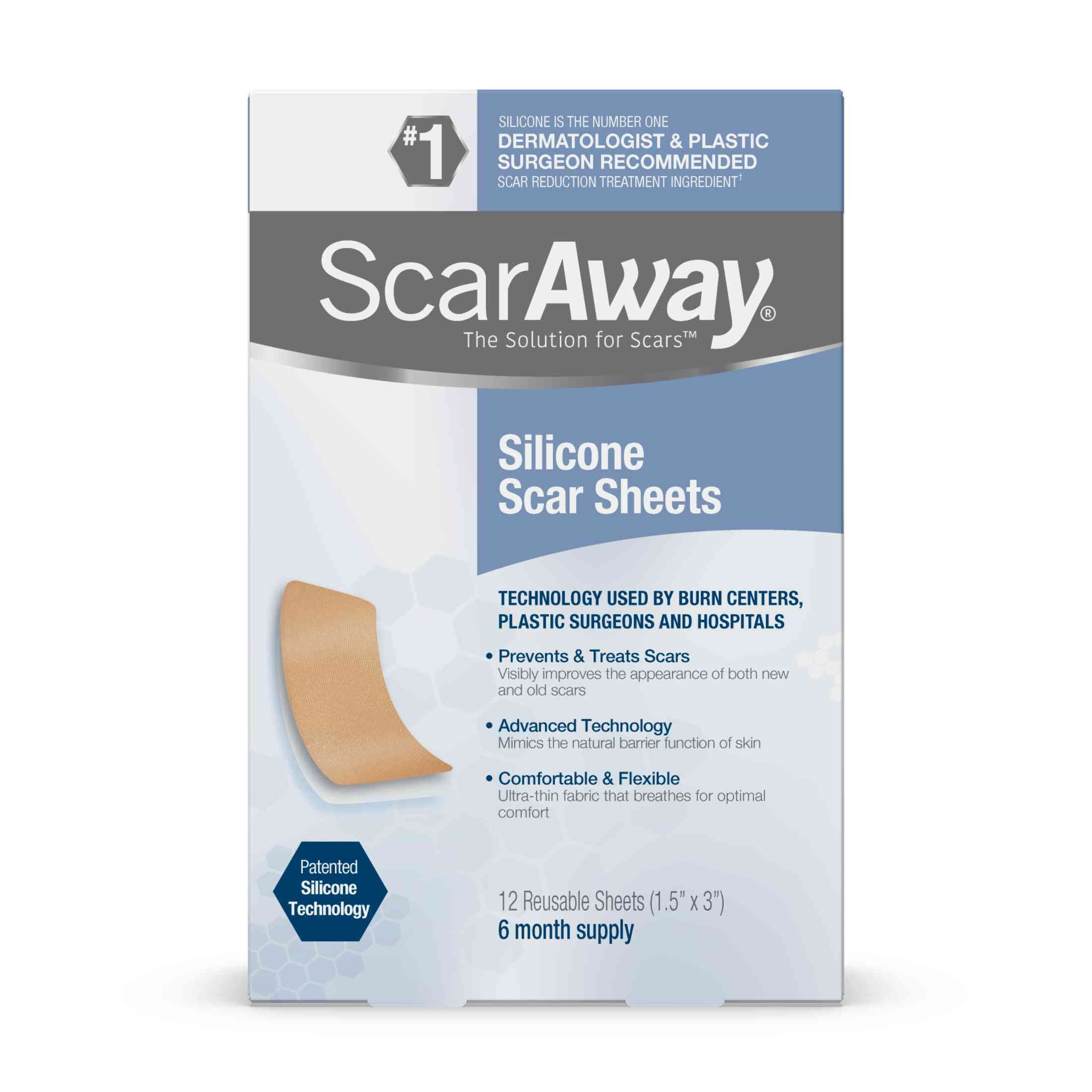 Scaraway Silicone Scar Sheets 6 Month Supply 12 Reusable ...