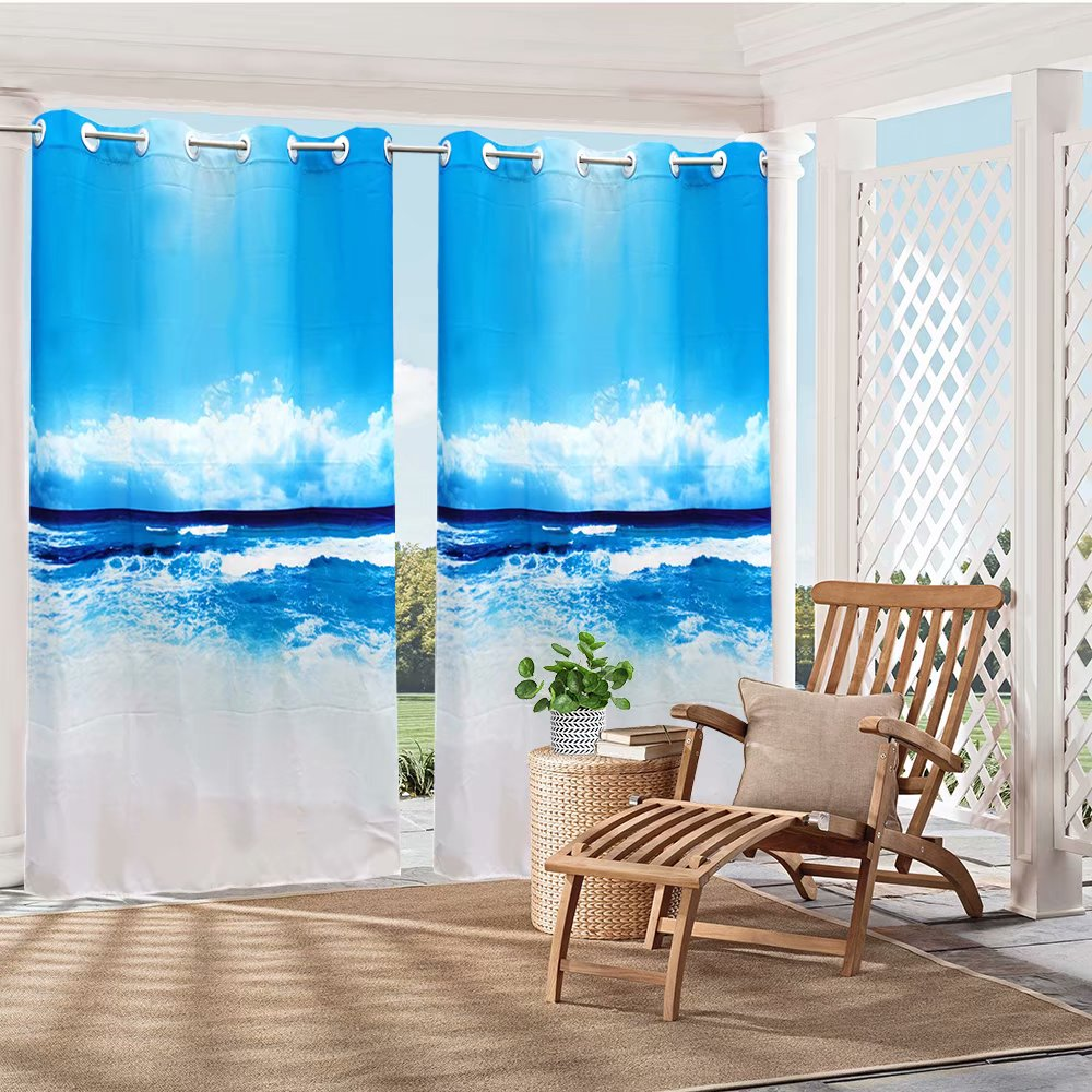 pro space 3d outdoor curtain panel 58x84in gazebo patio waterproof curtain sea and wave 1 panel
