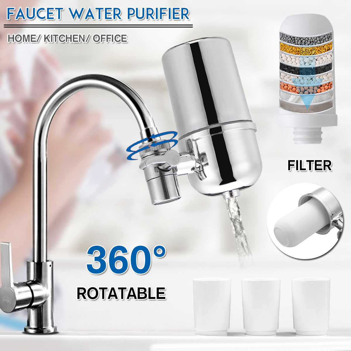 reusable faucet water filter for kitchen sink mount filtration tap purifier