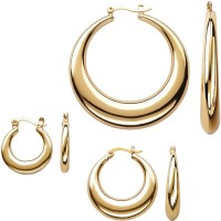 Gold-Tone Tapered Hoop Earring Set, 3 pairs - Walmart.com