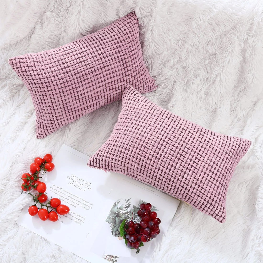 rectangle throw pillow case covers home decor cushion cover pink 2pcs 12x18