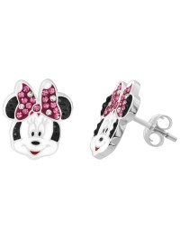 Disney Minnie Mouse Sterling Silver Pink and White Crystal ...