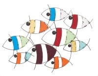 Colorful Metal And Wood School Of Fish Wall Decor ...