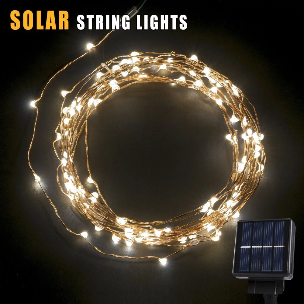 medium resolution of betterhome 120 leds outdoor solar powered led string lights 19ft waterproof copper wire lights for garden home party walmart com
