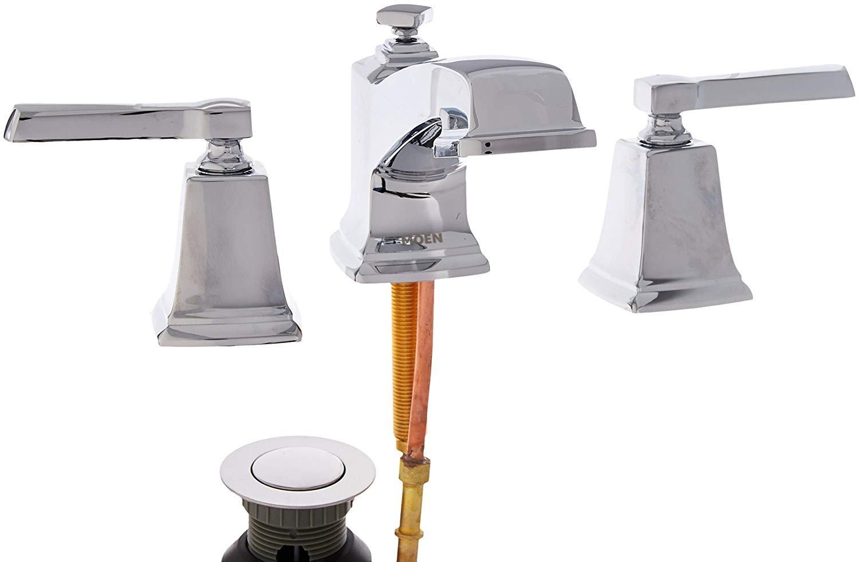 moen ws84820 boardwalk two handle low arc bathroom faucet chrome walmart com