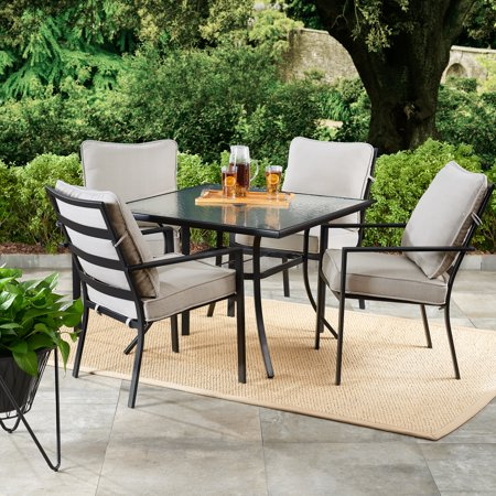 mainstays richmond hills 5 piece outdoor patio dining set with cushions