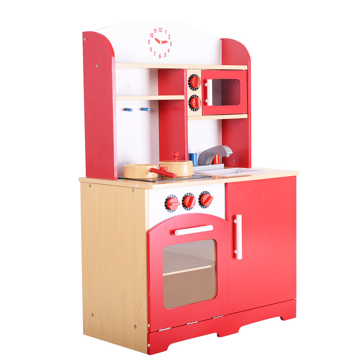 wooden kids kitchen cabinets glass doors wood toy cooking pretend play set toddler playset