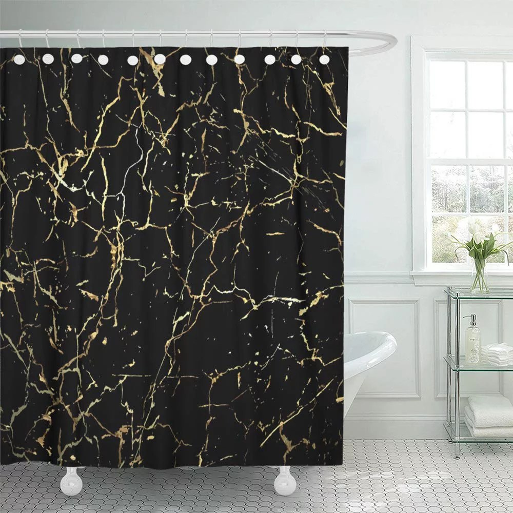 pknmt marble gold marbling design for book catalog black splatter abstract brush crack waterproof bathroom shower curtains set 66x72 inch