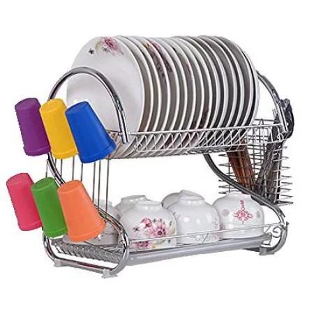 ubesgoo 2 tier kitchen dish cup drying rack bowl rack kitchen sink dish drainer set